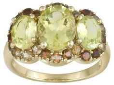 Stratify (Tm) Canary Apatite 3.59ctw And Andalusite .98ctw 18k Yellow Gold Over Sterling Silver Ring