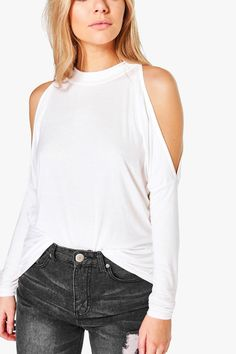 Kitty High Neck Batwing Cold Shoulder Topalternative image