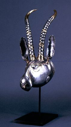 Sassanian Silver Gilt Rhyton in the Form of a Sagia Antelope      Silver gilt, 6th-7th century  C.E.