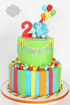 Boy birthday cake fondant elephant balloons