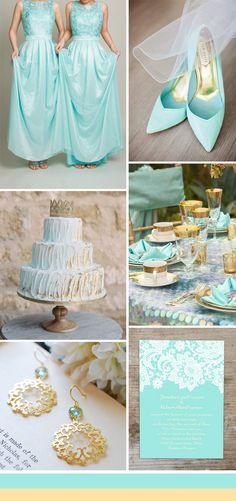 aqua blue and gold wedding color ideas and blue bridesmaid dresses