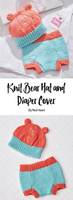 Knit Bear Hat and Diaper Cover free knit pattern in Baby Hugs Medium yarn. This colorful knit set is perfect for baby to wear in photos to share! This yarn has been tested for harmful substances, so you can confidently use next to baby's skin. #Babyyarn