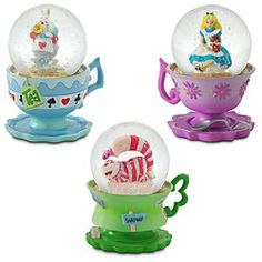 Disney Alice in Wonderland Teacup Snowglobe Set