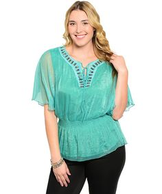 Aqua Woman Peasant Top $24.99  #plussize #plussizefashion #plussizeclothing #spring #spring2017 #aqua #peasant #top #plussizetop  Elastic waist peasant top has a bejeweled neckline with skinny tie closure, shimmering, sheer overlay, and wide elastic waist.
