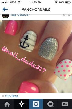 Opting for bright colours or intricate nail art isn't a must anymore. This year, nude nail designs are becoming a trend. Here are some nude nail designs. Love Nails, Fun Nails, Pretty Nails, Dream Nails, Anchor Nails, Nails With Anchor Design, Anchor Nail Designs, Aztec Nails, Chevron Nails