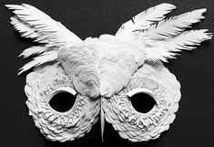 Paper and White Feather Owl Mask