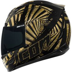 Black and Gold Icon Airmada Spaztyk Helmet  (O_O)!! WANT!!