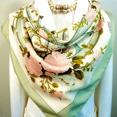 Authentic Vintage Hermes Silk Scarf Romantique Scalloped Jacquard Rare
