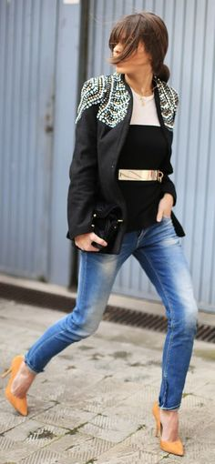 Choies Black Bejeweled Blazer FAshion Seams For A Desire Casual Chic Blazer Coat Shoulder Detail Studs Blazer Suede Pumps Party Fashion, Love Fashion, Winter Fashion, Fashion Looks, Fashion Outfits, Womens Fashion, Fashion Design, Casual Chic, Style Casual