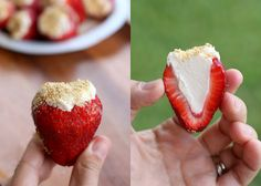 Cheesecake Stuffed Strawberries - Can I get a HECK YES?    One addition- Dip the tips of the strawberries in chocolate and let that dry before you core and fill them. ;)