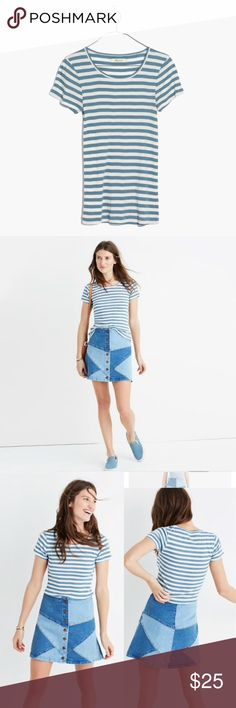 Madewell Slim Ribbed Tee in Sandoval Stripe Made to wear with high-rise anything, this shrunken tee has a bought-it-in-the-'70s feel (see: slim fit, ribbed cotton, retro stripes). Shrunken fit. Cotton/poly. Machine wash. Madewell Tops Tees - Short Sleeve