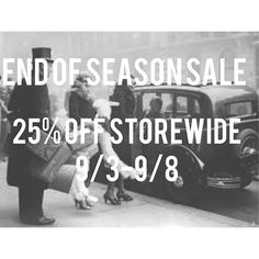 END OF SEASON SALE. 25% off Storewide now until 9/8 http://ift.tt/1lP6fC1