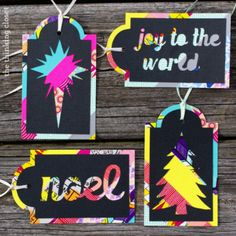 """gift tags ~ Made with washi tape and overlay cutout in black! Wonderful """"scratch card"""" look!"""