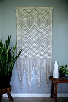 "Macrame Wall Hanging - Natural White Cotton 36"" Dowel - Geometric Pattern - Boho Decor - Wedding Backdrop - READY TO SHIP by BermudaDream on Etsy https://www.etsy.com/listing/276296256/macrame-wall-hanging-natural-white"