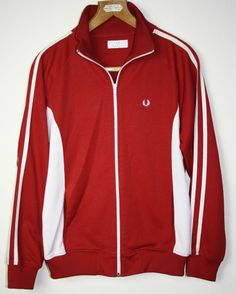 Vintage Fred Perry Mens Boys Jacket Blezer RED Sweat Shirt Size S 12 UK  Zipped