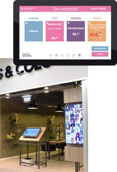 Touchscreen Cuts & Colours  - Op een touchscreen kunnen klanten de mogelijke haarbehandelingen zien en daaruit een keus maken. Daarnaast kan de klant ook de eerder gekozen knipbeurten inzien en gepersonaliseerde aanbiedingen ontvangen.