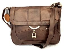 Ladies Leather Shoulder Bag / Handbag with Fold over Flap and Magnetic Clasp Black/Brown/Tan (Brown)