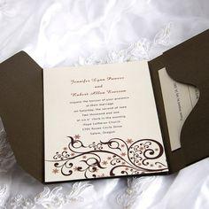Exquisite Beautiful Swirls Pocket Wedding Invitations IWPS050 $1