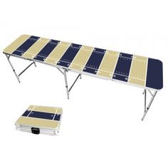 Gold & Navy Blue Football Field 8 Foot Portable Folding Tailgate Beer Pong Table from TailgateGiant.com