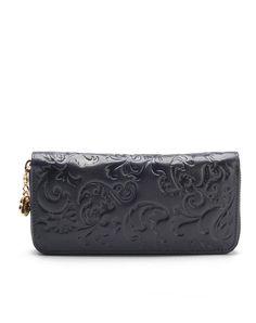 #AdoreWe #VIPme Wallets - LANNIU Dark Blue Leather Embossed Top Zip Wristlet Wallet - AdoreWe.com