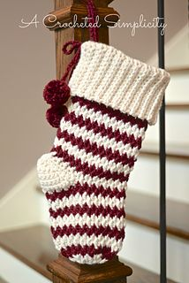 Crochet Pattern: Jolly Textures Christmas Stockings by A Crocheted Simplicity
