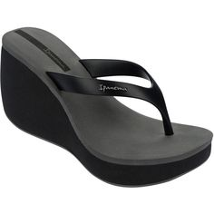Ipanema Black Flip Flops - Ipanema Lipstick Thong Iv Fem... ($54) ❤ liked on Polyvore featuring shoes, sandals, flip flops, black, black flip flops, ipanema, ipanema shoes, black sandals and grey sandals