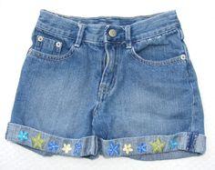 GYMBOREE Shorts, Blue Denim Starfish Flower Faceted Gem Sea Splash 100% Cotton 8 #Gymboree