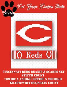 (4) Name: 'Crocheting : Cincinnati Reds Hat & Scarf Set