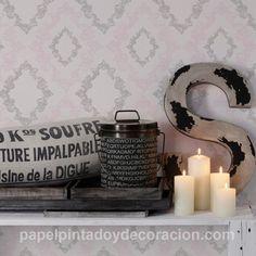 Papel pintado rombos vintage en relieve gris con brillo y rosa fondo blanco PDA8329892