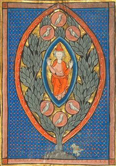 """Man Enthroned within a Mandorla in a Tree"" via Tumblr Geometry Matters, featuring many examples of the geometric shape vesica pisces."
