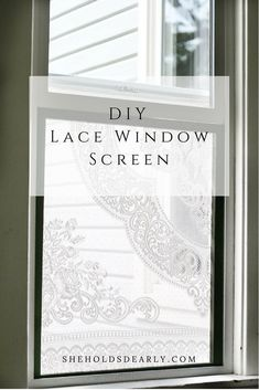 This project is good for a window covering, privacy screening or a lace window screen. By using some and thrifted lace you can make your own! Diy Lace Window Screen, Window Privacy Screen, Diy Lace Window Covering, Window Blinds, Privacy Screens, Bay Window, Window Coverings, Window Treatments, Dressing Screen