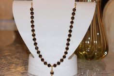 8 Cut Luster Edge Jet Glass Beaded Necklace by AngeleDesignsLA, $28.00