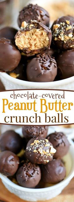 Satisfy your chocolate and peanut butter cravings with these easy Chocolate Covered Peanut Butter Crunch Balls! This delicious candy is great for the holidays and cookie trays! // Mom On Timeout Candy Recipes, Sweet Recipes, Cookie Recipes, Fudge Recipes, Quick Recipes, Just Desserts, Delicious Desserts, Yummy Food, Baking Desserts