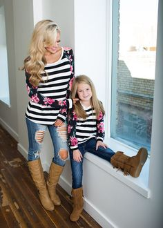 Mommy and Me Everyday Roses Stripes Top Black - Ryleigh Rue Clothing by Modern Vintage Boutique