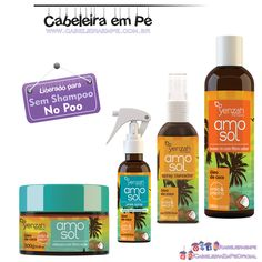 Linha Amo Sol Liberados para No Poo (Condicionador, Leave in, Spray texturizador e spray clareador)