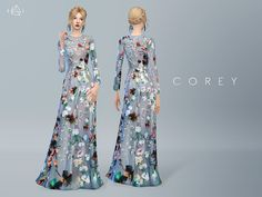 This gown features romantic garden motifs from top to bottom, giving your sims a festival style look.  Found in TSR Category 'Sims 4 Female Everyday'