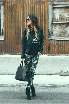 Top: Majtees Pants: Infinite chic Shoe: Nordstrom Jacket: Infinite chic Handbag: Valentino Sunglasses: Karen Walker Hoping everyone had a fun and relaxing Christmas! Dope Fashion, Urban Fashion, Fashion Looks, Womens Fashion, Camo Fashion, Street Fashion, Style Me, Cool Style, Nordstrom Jackets