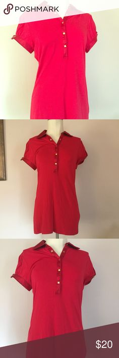 """Guess NWT Red Short Sleeved Studded Sexy Top Sz L Brand new with tags, Guess red top with gold stud buttons and silk trim. Top has a silk collar and cuffs. It is a longer length which is really flattering on. Never worn, tagged a large and measures: 36-38"""" across the chest, and 32"""" waist. Guess Tops Button Down Shirts"""