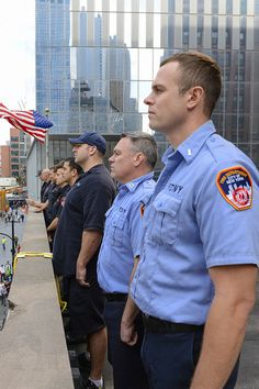 NY Fire Fighters stand on a roof across from St. Nicholas Greek Orthodox Church during the re-building ceremony. Emergency Responder, Fire Fighters, Military Police, Recent Events, Jfk, American History, Horror, Greek, Polo Ralph Lauren