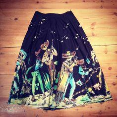 Mariachi Skirt (Black) Velvet Painting, Santa Fe Style, Cry Baby, Western Wear, Tie Dye Skirt, Cowboy Boots, Shawl, Skirts, Black