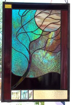 LARGE Flowing Tree in Moonlight Stained Glass Window  Panel. $198.00, via Etsy.