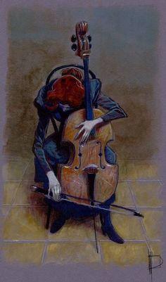 Miguelanxo Prado «Tristeza», un momento que no llegó a verse en «De profundis». Acrílico sobre papel tintado.