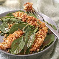 Coconut-Curry Chicken Fingers With Cashews and Spinach. Sounds delicious!