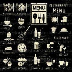 Scratched restaurant menu elements on blackboard vector illustration © Aleksandra Novakovic (sanjanovakovic) (#2978379)   Stockfresh
