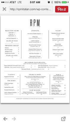 RPM Italian gf menu