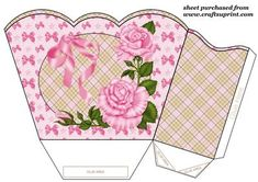 Pink roses gift basket on Craftsuprint designed by Sharon Poore - Pink roses gift basket,you will need to print 2 sheets to make gift basket - Now available for download!