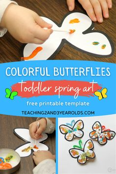 Add some extra fine motor fun with this toddler butterfly art. Download the free printable, paint with Q-Tips, and attach to a clothespin for a fun spring decoration! #butterflies #art #paint #finemotor #printable #toddlers #spring #teaching2and3yearolds Bug Activities, Spring Activities, Preschool Activities, Butterfly Template, Butterfly Art, Butterflies, Spring Theme, Spring Art, Classroom Tree