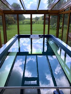 The Endless Pools swimming machine easily installs in existing rooms, including this sunroom. All pool components fit through standard doorways. That lets the homeowners swim indoors, all year round, with a stunning sunroom view. Swimming Pool Pictures, Indoor Swimming Pools, Lap Pools, Small Indoor Pool, Outdoor Pool, Pool Backyard, Indoor Outdoor, Outdoor Decor, Four Season Sunroom