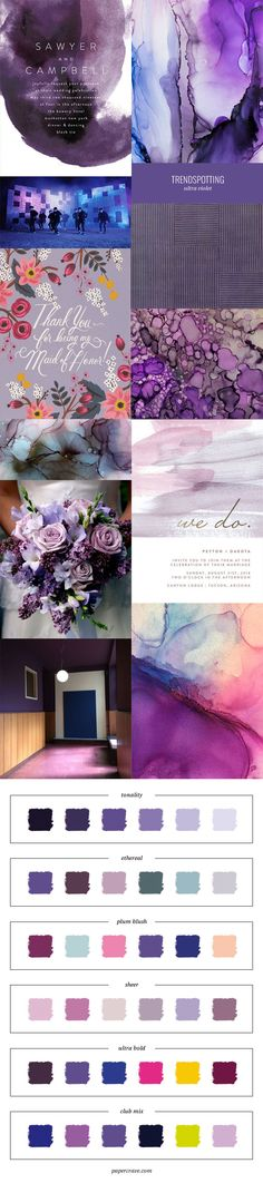 The Pantone 2018 Color of the Year is Ultra Violet, and today I'm talking about 2018 color trends in stationery with examples and color inspiration.