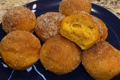Dipped in melted butter and rolled in cinnamon sugar, it doesn't get much better than these pumpkin poppers. They're just as tasty as a pumpkin donut hole, without the yeast or deep frying.
